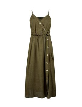 Khaki Camisole Dress With Linen by Dorothy Perkins