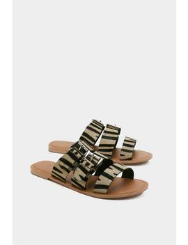 Zebra Pony Buckle Detail Slider by Nasty Gal