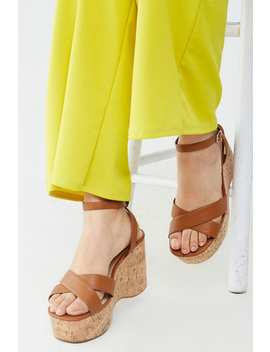Faux Leather Crisscross Platform Wedges (Wide) by Forever 21