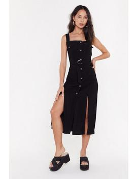 Button Front Textured Midi Dress by Nasty Gal