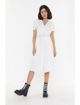Dobby Button Down Midi Dress by Nasty Gal