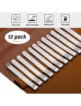 kingso-12-pcs-3-stainless-steel-sewing-clips-ruler-hemming-clips-measure-clip-hemmer-no-pin-hem-clip-marking-ruler-guides-silver by kingso