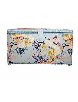 """Extra Large Dritz St. Jane Sewing Basket Box (X Large 15 1/4"""" X 10 1/4"""" X 8 3/4"""" Light Blue Floral) by St Jane"""