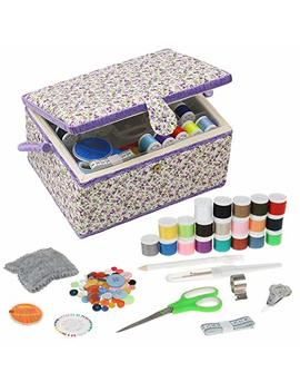 Large Sewing Basket Sewing Box Organizer With Sewing Kit Accessories (Purple Floral) by D&D