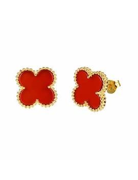 Women Black Onyx 18 K Gold Plated Four Clover Charm Stud Earrings/Leaf Clover Stud Earrings,925 Sterling Silver 4 Color Flower Shape Fashion Stud Earrings by Charles