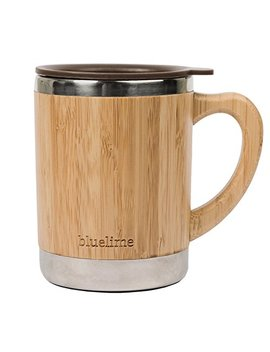 Bluelime Bamboo Coffee Mug – Stainless Steel Wooden Coffee Tea Mug: Insulated – Light & Portable For Office – Lid And Handle – Keeps Drinks Hot Or Cold – 10 Oz – 100 Percents Eco Friendly by Bluelime Kitchen