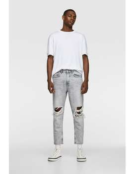 29d0dc2e Shoptagr | Slim Jeans With Rips Distressed Jeans Man by Zara