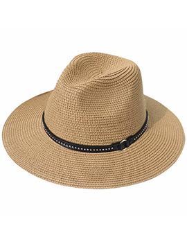 Lanzom Women Wide Brim Straw Panama Roll Up Hat Fedora Beach Sun Hat Upf50+ by Lanzom