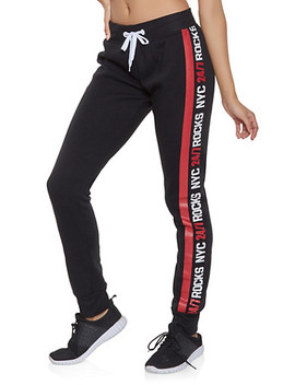 Nyc Rocks Graphic Tape Sweatpants by Rainbow