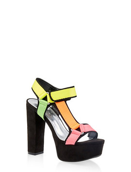 Asymmetrical Tape Strap High Heel Sandals by Rainbow
