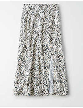 Ae Studio Leopard Midi Skirt by American Eagle Outfitters