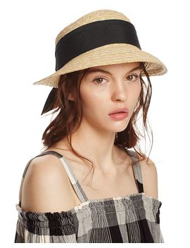 Straw Cloche Hat With Bow Back   100% Exclusive by Aqua