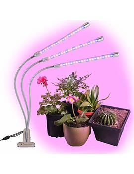 Brite Labs Led Grow Lights For Indoor Plants And Seedlings, Triple Head Plant Growing Lamps With 60 Full Spectrum Bulbs, Programmable Timer Allows Auto On Off, Adjustable Gooseneck With Desk Clip On by Brite Labs
