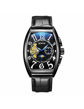 Sewor Mens Automatic Business Dress Tonneau Shaped Moon Phase Wrist Watch Mechanical Self Wind by Sewor