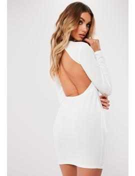 White Open Back Bodycon Mini Dress by Missguided