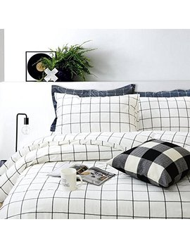 Fadfay Grid Duvet Cover Sets Lightweight Cotton Bedding Set Lattice Checkered Reversible White Duvet Cover Bedding Collection 3 Pieces,1duvet Cover & 2pillowcases   Twin Xl Size by Fadfay