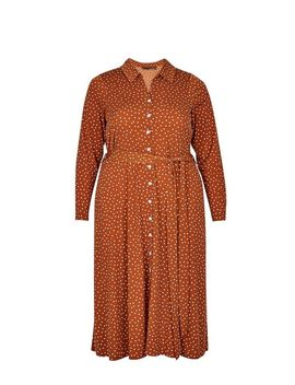 **Dp Curve Ginger Spot Print Midi Shirt Dress by Dorothy Perkins
