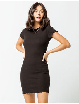 Heart & Hips Ribbed Lettuce Edge Womens Bodycon Dress by Tilly's