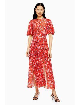 Austin Floral Star Print Angel Sleeve Midi Dress by Topshop