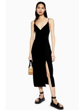 Black Twist Slip Dress by Topshop