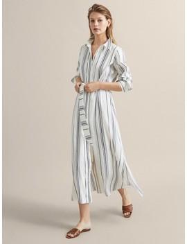 Gestreiftes Kleid Aus Leinen Mit GÜrtel by Massimo Dutti