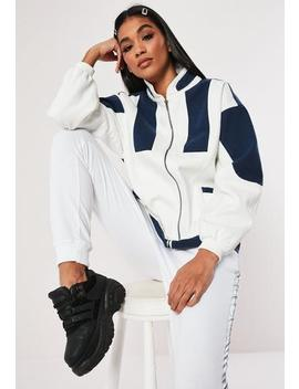 White Colour Block Twill Windbreaker Jacket by Missguided