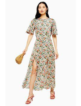 Austin Floral Daisy Print Angel Sleeve Midi Dress by Topshop