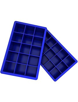 Ozera 2 Pack Silicone Ice Cube Tray Molds Candy Mold Cake Mold Chocolate Mold, 15 Cavity, Blue by Ozera