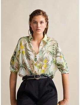 Camisa De AlgodÃo E Seda Com Estampado Floral by Massimo Dutti