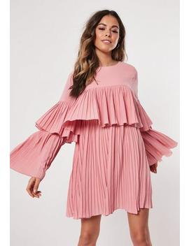 Blush Pleated Layered Smock Dress by Missguided