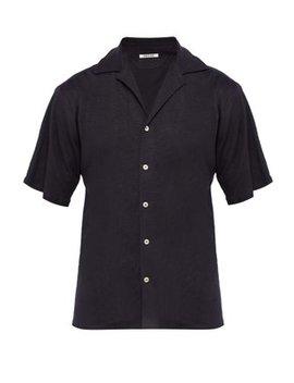 Cuban Collar Linen Jersey Shirt by Hecho