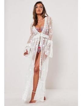 Premium White Lace Layered Maxi Beach Kimono by Missguided