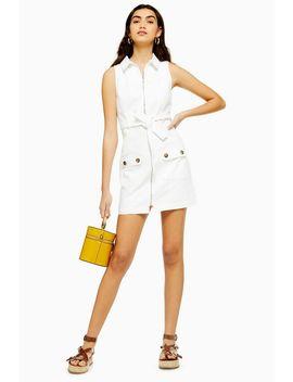 White Horn Button Denim Dress by Topshop