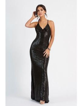 **Sequin Cross Back Fishtail Dress By Club L by Topshop