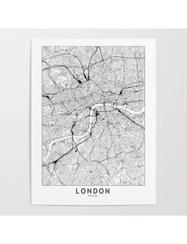 London White Map Poster by Society6