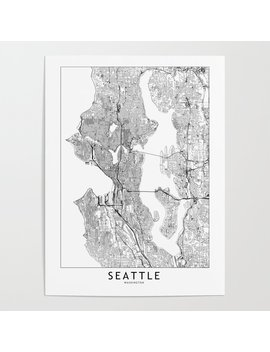 Seattle White Map Poster by Society6