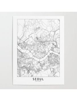 Seoul White Map Poster by Society6