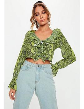 Green Snake Print Ruffle Crop Blouse by Missguided