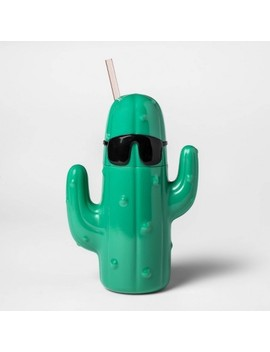 20oz Plastic Cactus Shaped Tumbler With Lid And Straw Green   Sun Squad by Sun Squad