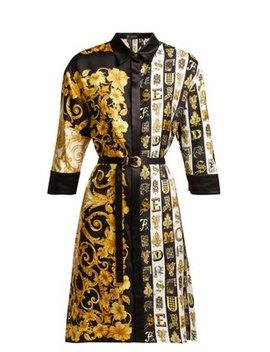 Baroque Print Silk Twill Shirtdress by Versace