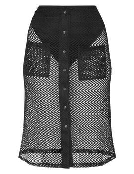 Black Crochet Button Front Midi Skirt by Prettylittlething