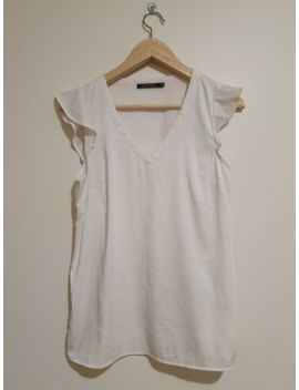 Portmans White Off White Pink V Neck Ruffle Top Size 8 Xs Small by Portmans