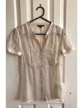 Portmans Beige Sheer Blouse, Size 8. by Portmans