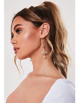 Gold Look Baroque Cross Hoop Earrings by Missguided