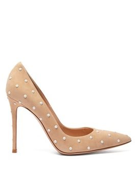 Pearl Stud 100 Suede Pumps by Gianvito Rossi