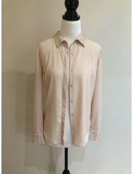 Portmans Women's Nude Pink Embellished Button Front Blouse Size 6 by Portmans