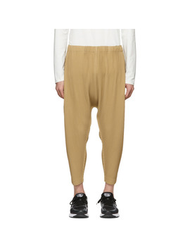 Beige Pleated Drop Trousers by Homme PlissÉ Issey Miyake
