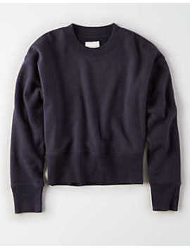 Ae Ribbed Pullover Sweatshirt by American Eagle Outfitters