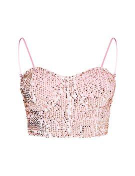 Light Pink Velvet Sequin Crop Top by Prettylittlething