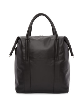 Black Leather Shopper Tote by Maison Margiela